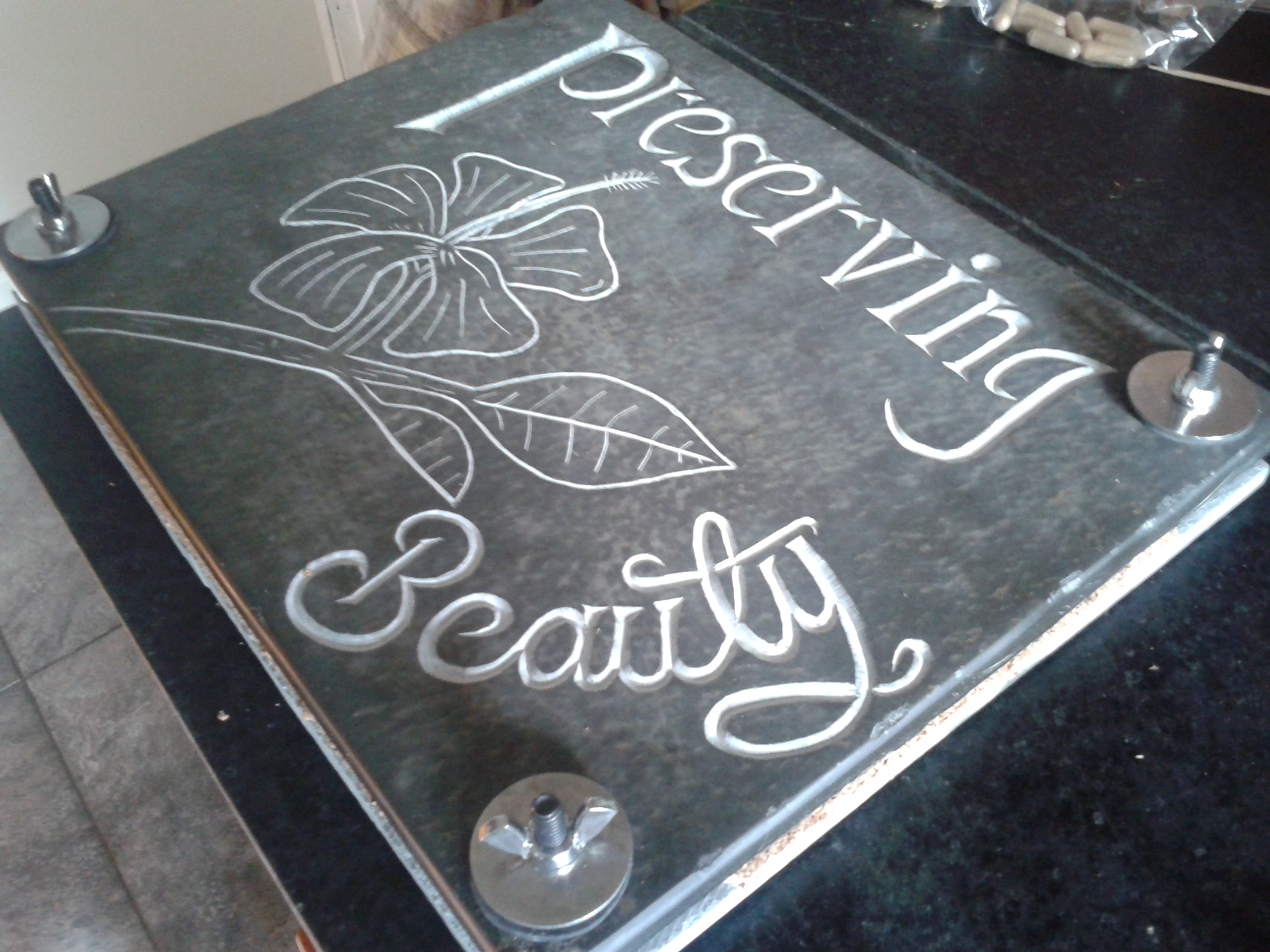 Custom Carved and Inscribed Flower Press